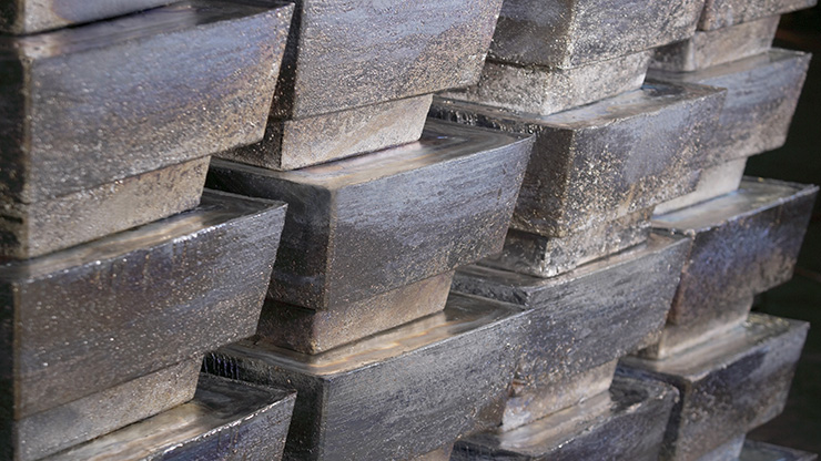 Stacked 100-pound lead ingots