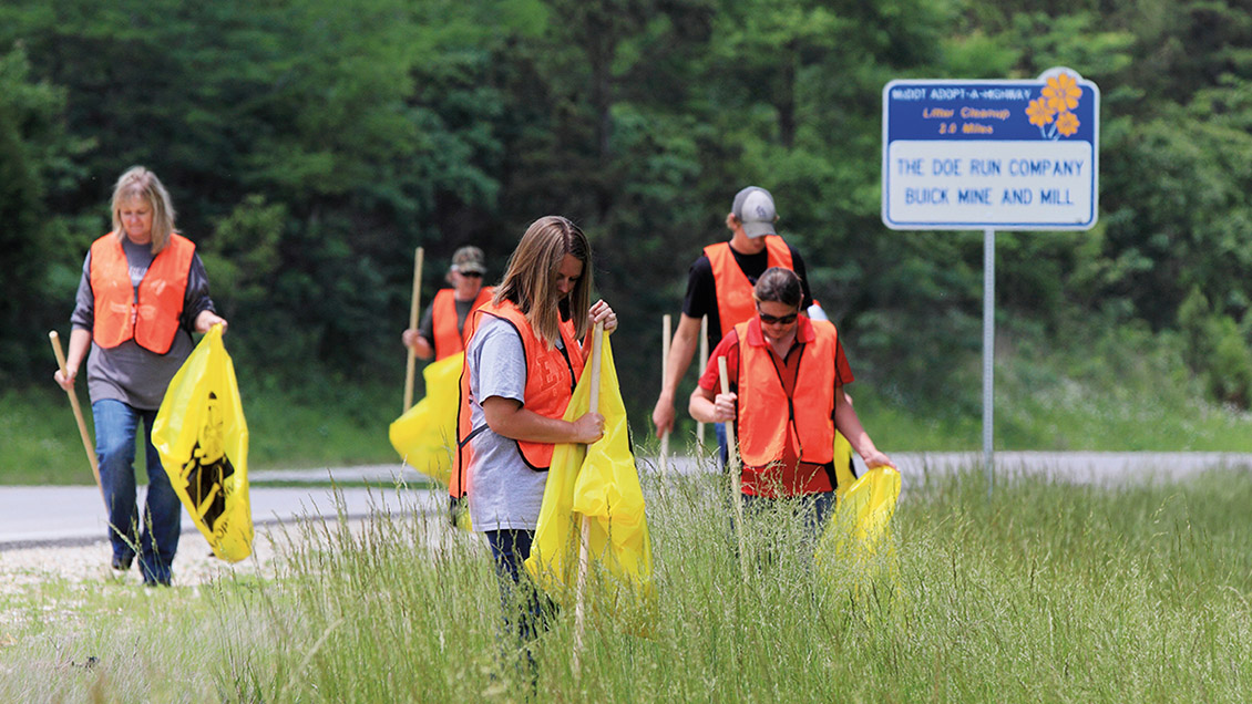 Doe Run employees removing road-side litter along Hwy KK near our operations in southern Missouri.