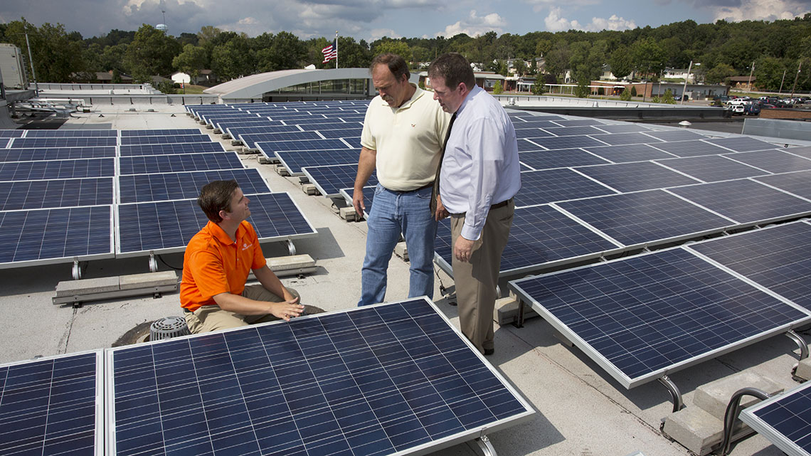 Herculaneum High School's rooftop solar panels.
