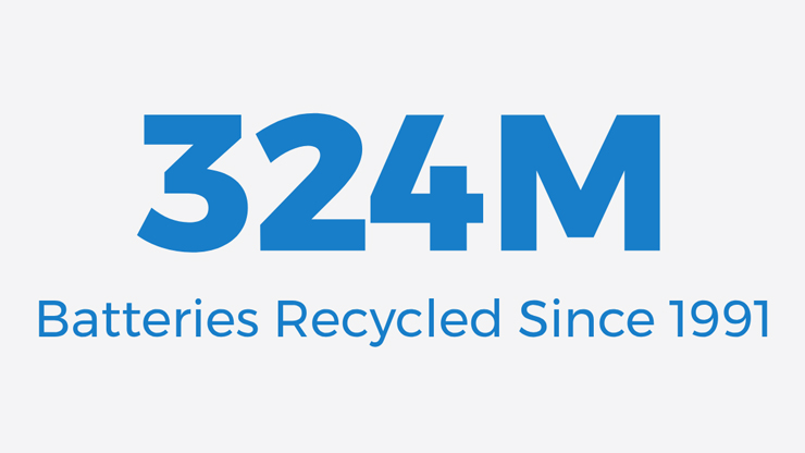 324 million batteries recycled since 1991.
