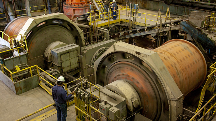 Ore containing lead, zinc and copper is run through a ball mill as part of the milling process.