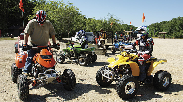 ATV enthusiasts riding their all-terrain-vehicles at St. Joe State Park, a remediated former mine site.