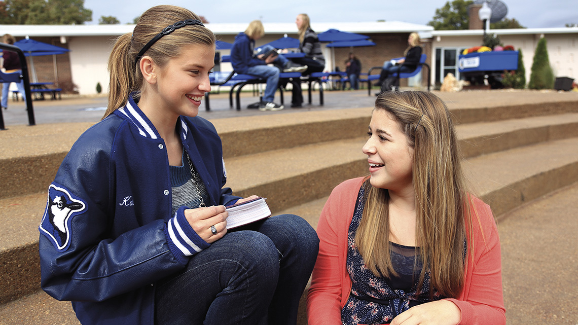 Students enjoying the outdoor areas at Viburnum High School.